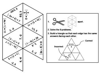 Absolute Value Equations: Math Tarsia Puzzle