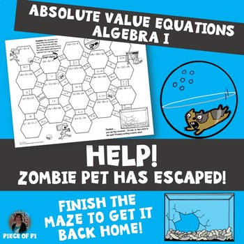 Absolute Value Equations Maze Zombie Theme by Piece of Pi | TpT