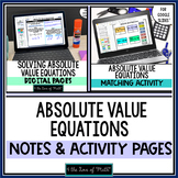 Absolute Value Equations Note and Activity Bundle for Goog