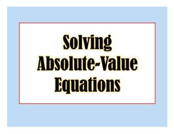 Absolute Value Equations PPT