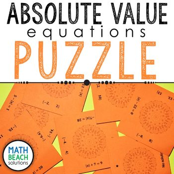 Absolute Value Equations Puzzle Activity