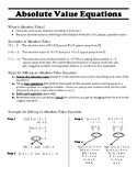 Absolute Value Equations Quick Reference, Guided Notes, Pr