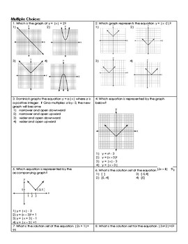 Absolute Value Equations Regents Review (Notes & Practice Questions)