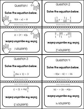 Absolute Value Equations Slap Math!