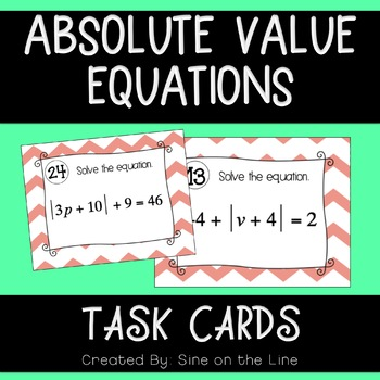 Absolute Value Equations Activity - Task Cards
