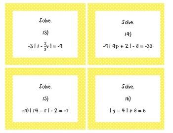 Absolute Value Equations Task Cards Algebra 1