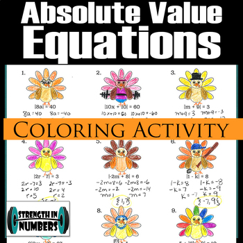 Absolute Value Equations Thanksgiving Turkey Coloring Activity