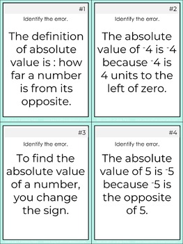 Absolute Value Error Analysis Task Cards - Free Math Resource
