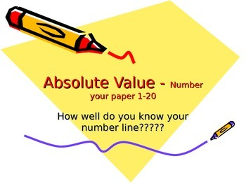 Absolute Value Fact Fluency