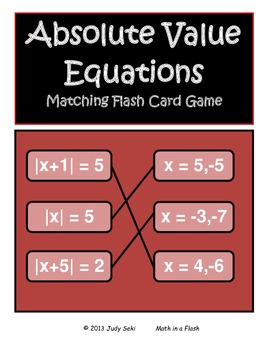 Absolute Value Flash Cards Matching Game