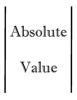 Absolute Value Foldable - Interactive Notebook