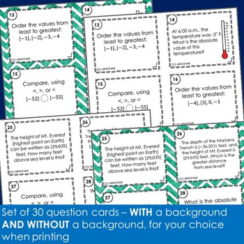 Absolute Value Task Cards - Footloose Math Game