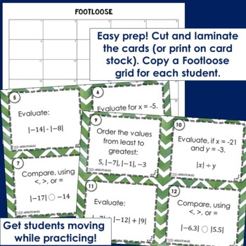 Absolute Value Footloose 2 - Task Card Math Game