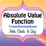 Absolute Value Function Graph Transformations - Notes, Charts, and Quiz