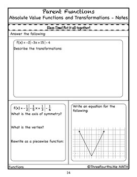 Absolute Value Function Transformations: Scaffolded Notes