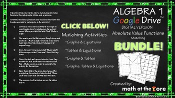 Absolute Value Functions BUNDLE - Matching Tables, Graphs, & Equations - Google