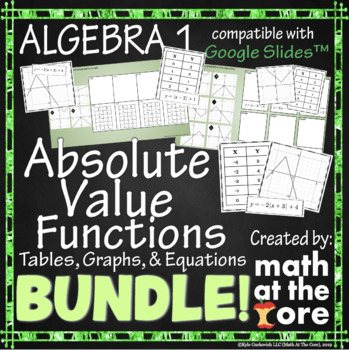 Absolute Value Functions BUNDLE - Tables, Graphs, & Equations - GOOGLE Slides