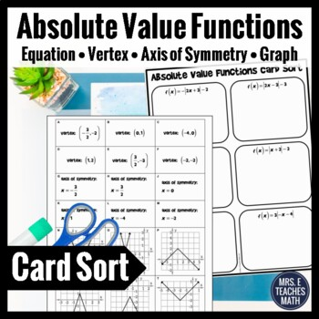 Absolute Value Functions Card Sort