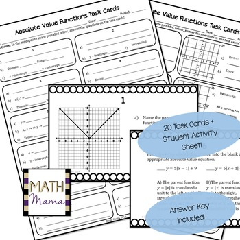 Absolute Value Functions (Graphing & Characteristics) Task Cards!