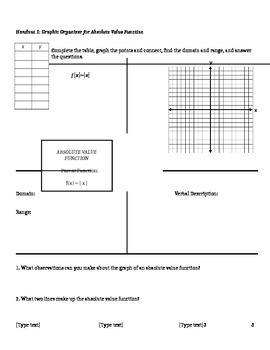 Absolute Value Functions Lesson Plan, Handouts, and Exit Ticket