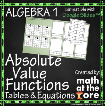 Absolute Value Functions - Matching - Tables & Equations - GOOGLE Slides