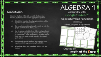 Absolute Value Functions - Matching - Tables, Graphs, & Equations GOOGLE Slides