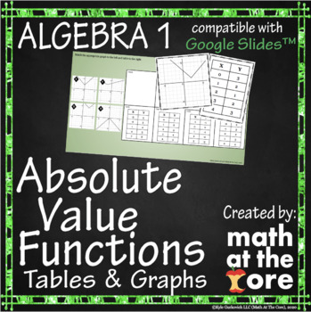 Absolute Value Functions - Matching - Tables & Graphs - GOOGLE Slides