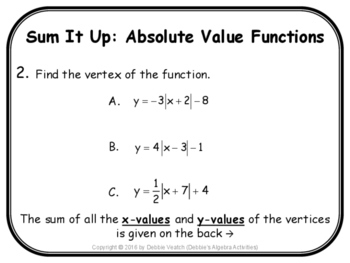Absolute Value Functions Sum It Up Activity