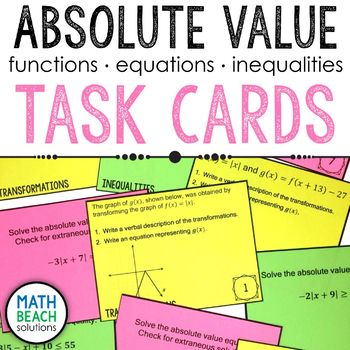 Absolute Value Functions Task Cards Activity