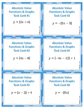 Absolute Value Functions and Graphs Task Cards
