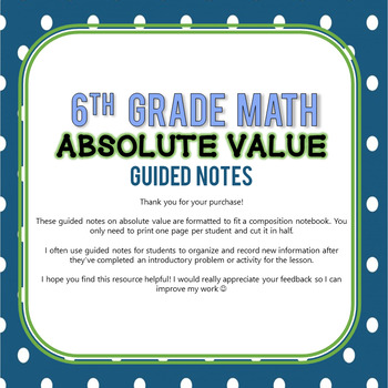 Absolute Value Guided Notes (INB) - 6th Grade Go Math