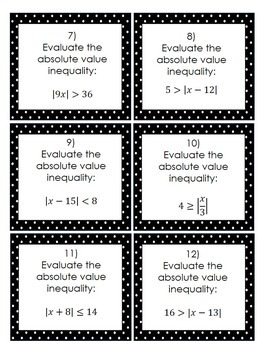 Absolute Value Inequalities (1-Step): 24 Task Cards