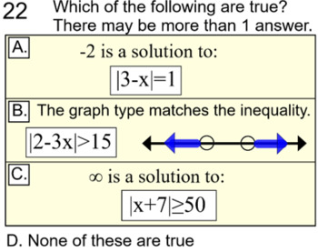 Absolute Value Inequalities 3 Lessons, 5 Assignments  for PDF