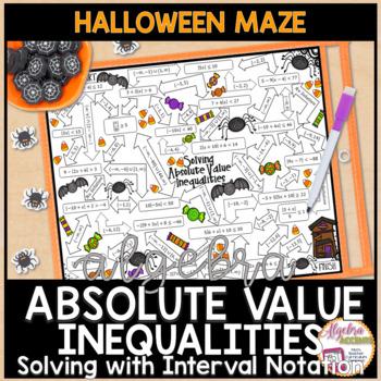 Absolute Value Inequalities Halloween Algebra Maze