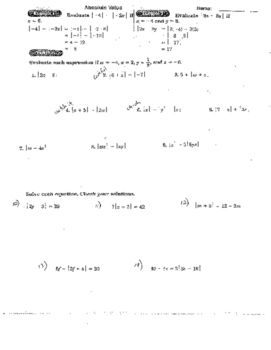 Absolute Value & Inequalities Including Solving Abs Value & Compound Ineq + Quiz