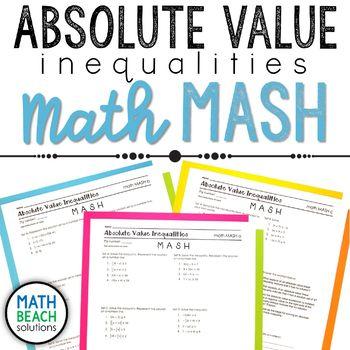 Absolute Value Inequalities Math MASH Activity