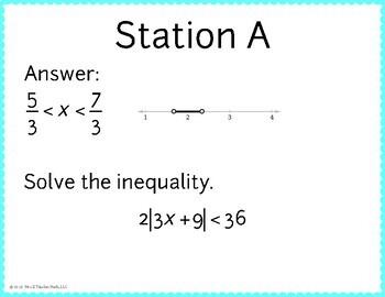 Absolute Value Inequalities Scavenger Hunt
