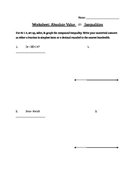 Absolute Value Inequalities Worksheet by Laurence Shauby | TpT