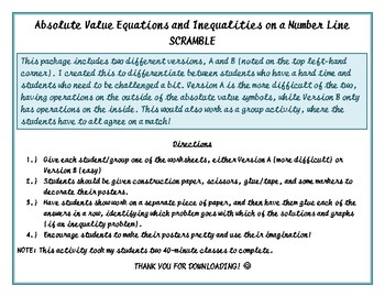 Absolute Value Inequalities and Equations Scramble