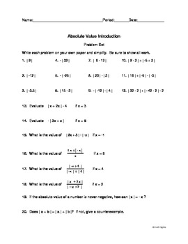 Absolute Value Introduction Problem Set