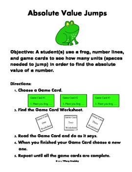 Absolute Value and Inequalities Jump Frog Game