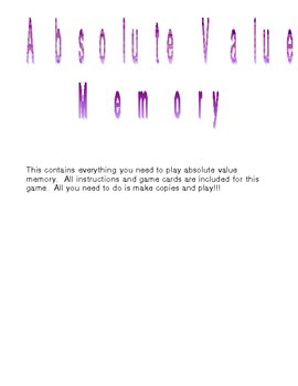 Absolute Value Memory