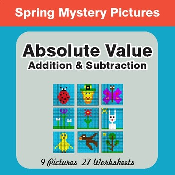 Spring Math: Absolute Value (Multiplication & Division) Math Mystery Pictures