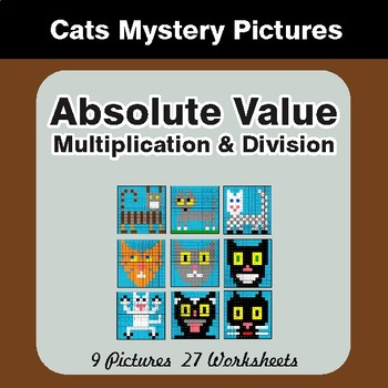 Absolute Value (Multiplication & Division) Color-By-Number Math Mystery Pictures