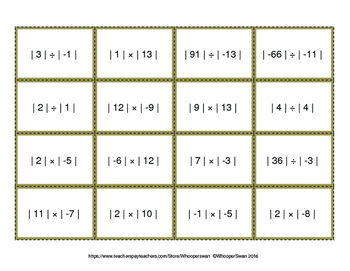Absolute Value: Multiplication & Division - Connect 4 Game