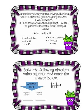 Absolute Value One Step Equations Boom Cards--Digital Task Cards