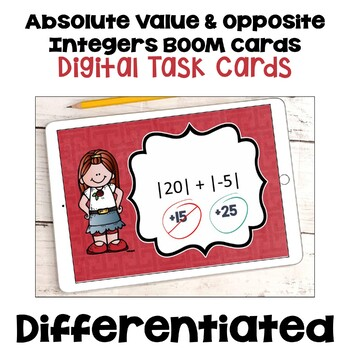 Absolute Value and Opposite Integers Digital Task Cards - BOOM Cards