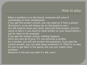 Absolute Value PPT set up as a game