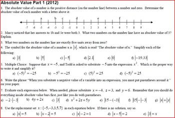 Absolute Value Part 1 with answer key (Editable)