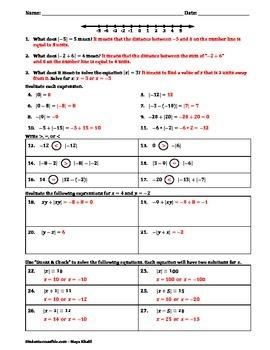 Absolute Value Practice Worksheet II